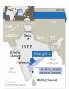 Carte de l'Inde avec le Telangana